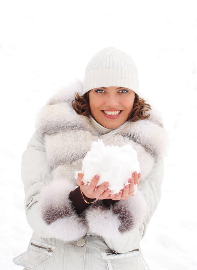 雪球妇女年轻人 图库摄影