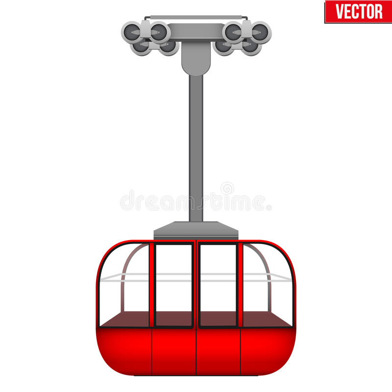滑雪电缆车长平底船 向量例证