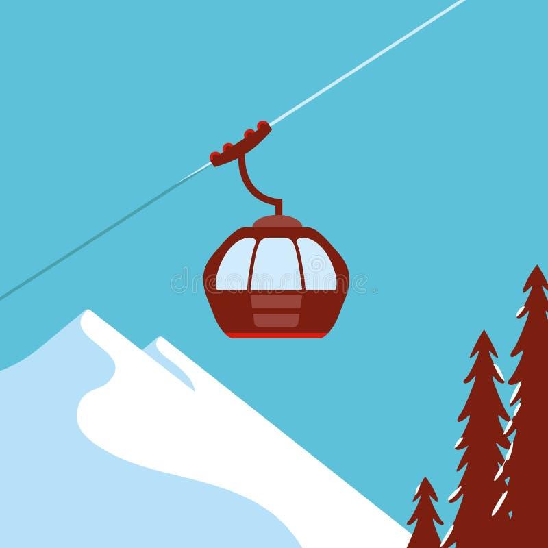 滑雪电缆车,长平底船 皇族释放例证
