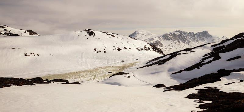雪白色在北极圈足迹迁徙的路线的冬天风景在Kangerlussuaq和西西缪特之间在西部格陵兰 库存照片