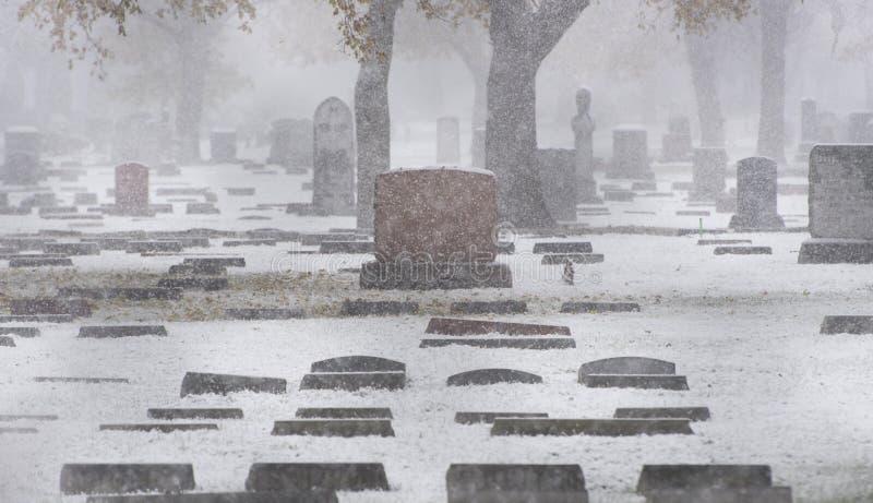 雪的公墓 免版税库存图片