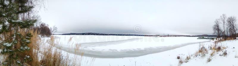 雪的冻湖 在冬天森林附近,树 灰色冷淡的天空 横幅背景墙纸 免版税图库摄影