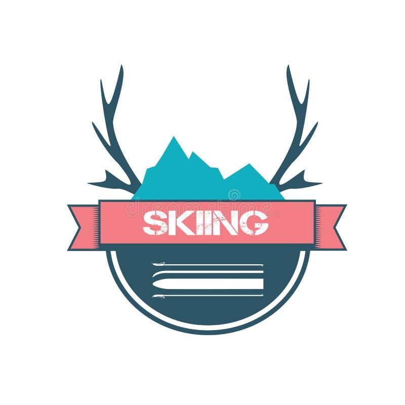 滑雪的商标设计 库存例证