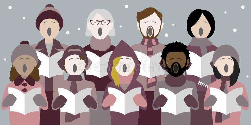 雪的圣诞颂歌歌手 库存例证