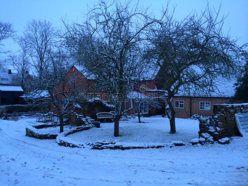 雪的村庄 免版税图库摄影