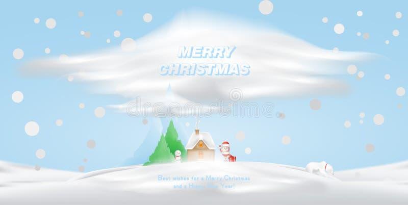 雪的漫画人物圣诞老人和房子反对山和圣诞树背景  传染媒介为 免版税库存图片