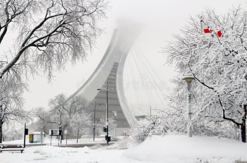 雪的蒙特利尔奥林匹克体育场 库存照片