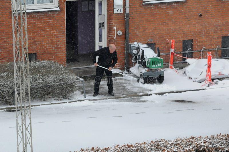 雪秋天天气在哥本哈根 库存图片