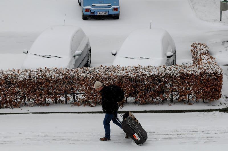 雪秋天天气在哥本哈根 免版税库存照片