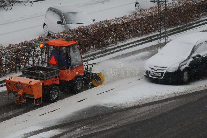 雪秋天天气在哥本哈根 免版税库存图片