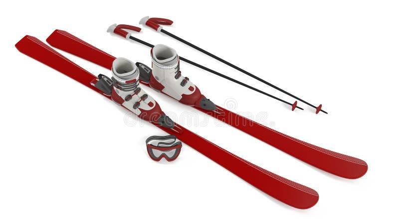 滑雪红色被隔绝的上面 向量例证