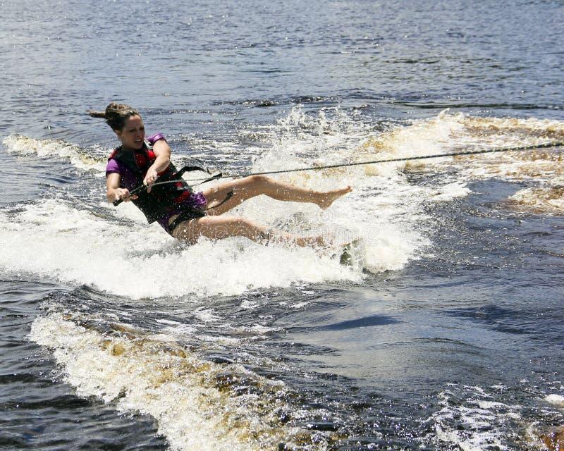 水滑雪者落 免版税库存照片