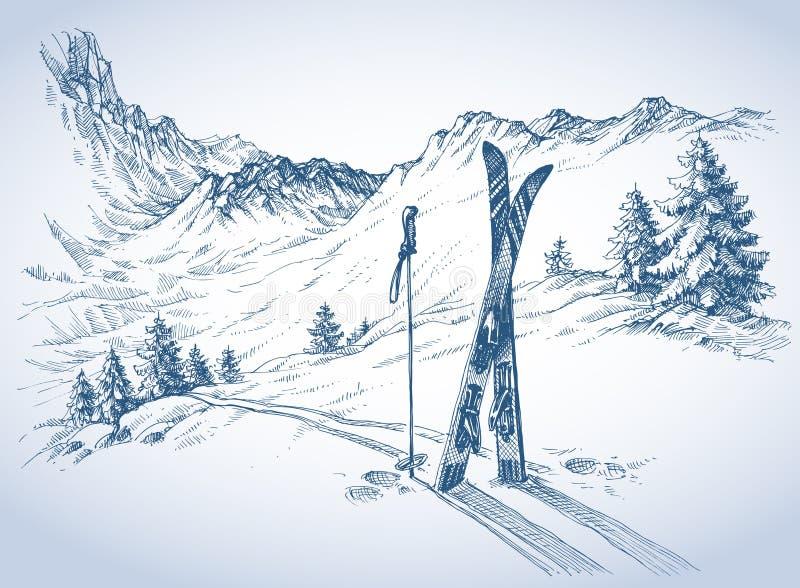 滑雪背景 皇族释放例证