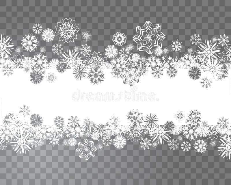雪花与您的圣诞节设计的透明背景毗邻 皇族释放例证