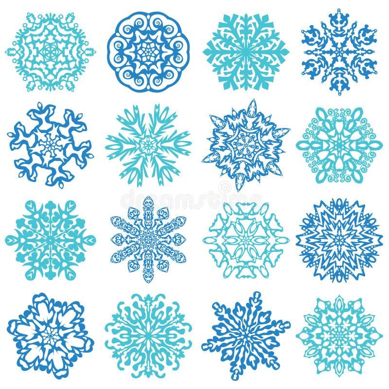 雪花传染媒介。在白色背景隔绝的16 向量例证