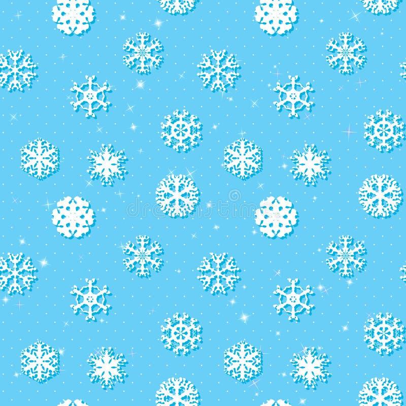 雪花冬天无缝的纹理,不尽的样式 库存例证