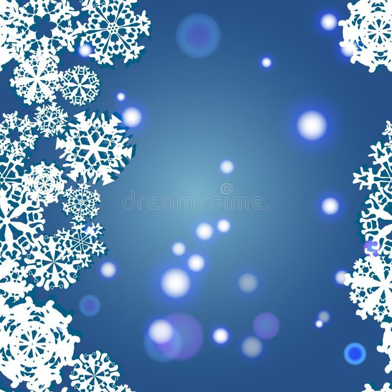 雪花冬天无缝的边界,无缝的纹理,不尽的样式 皇族释放例证