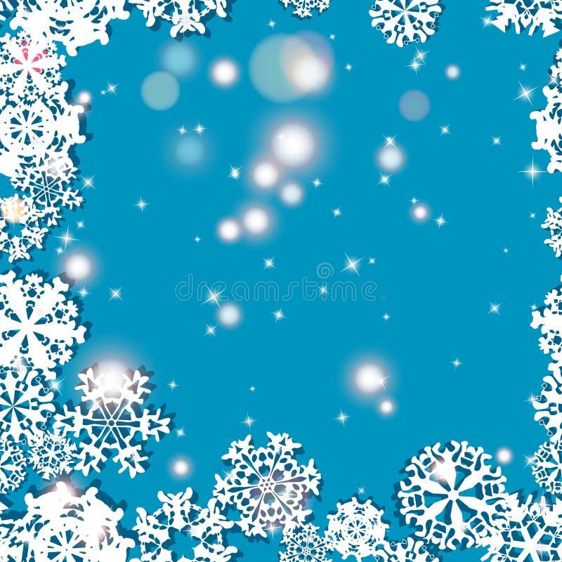 雪花冬天无缝的边界,无缝的纹理,不尽的样式 向量例证
