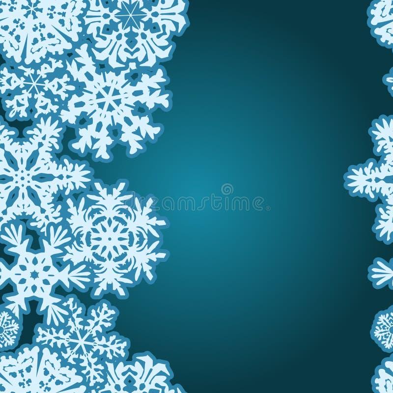 雪花冬天无缝的边界,无缝的纹理,不尽的样式 库存例证