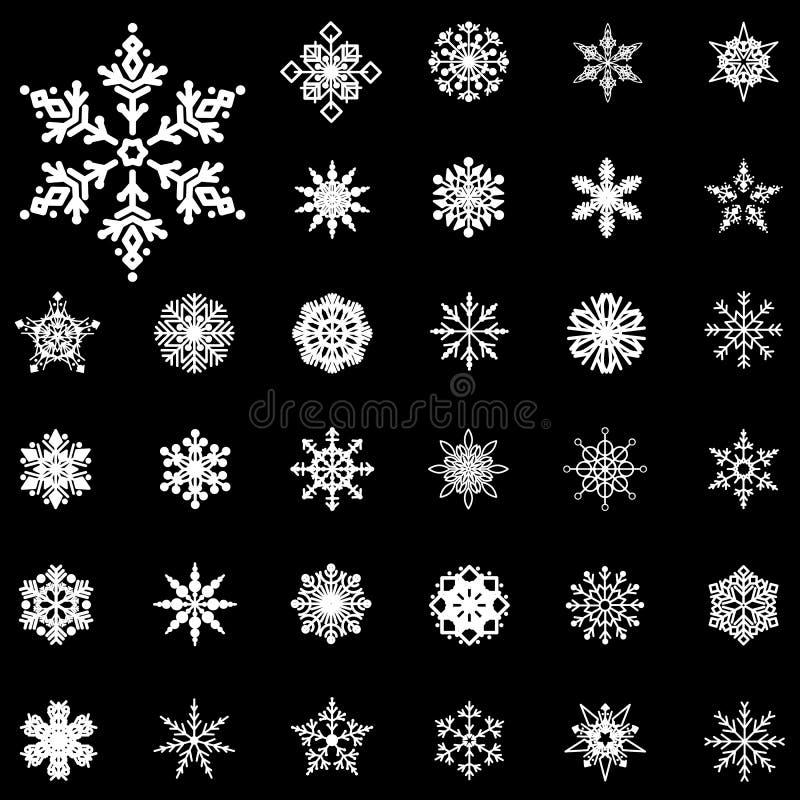 雪花冬天集合传染媒介 向量例证