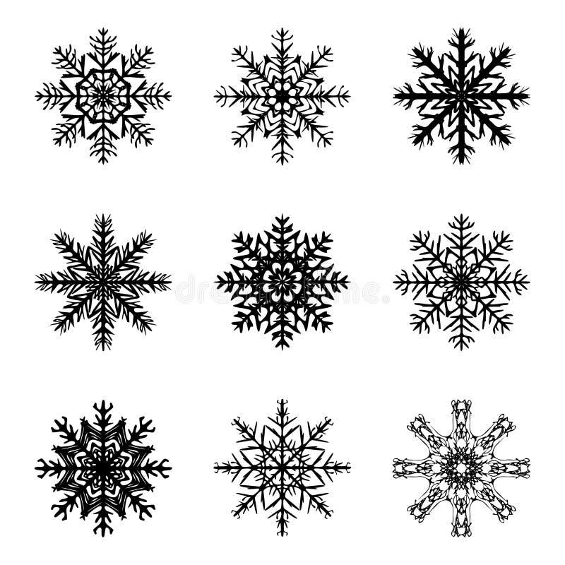 雪花剪影象,标志,设计 冬天,圣诞节在白色背景隔绝的传染媒介例证 向量例证
