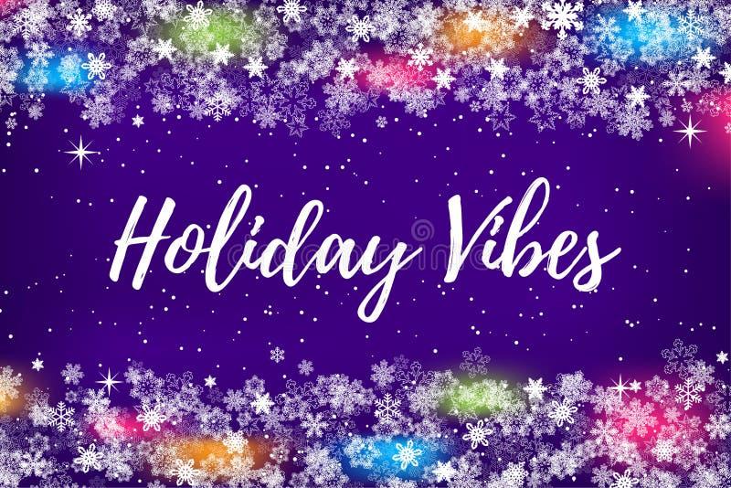 雪花和圣诞灯与地方的边界框架寒假,圣诞节或新年聚会邀请的任何文本的, 皇族释放例证
