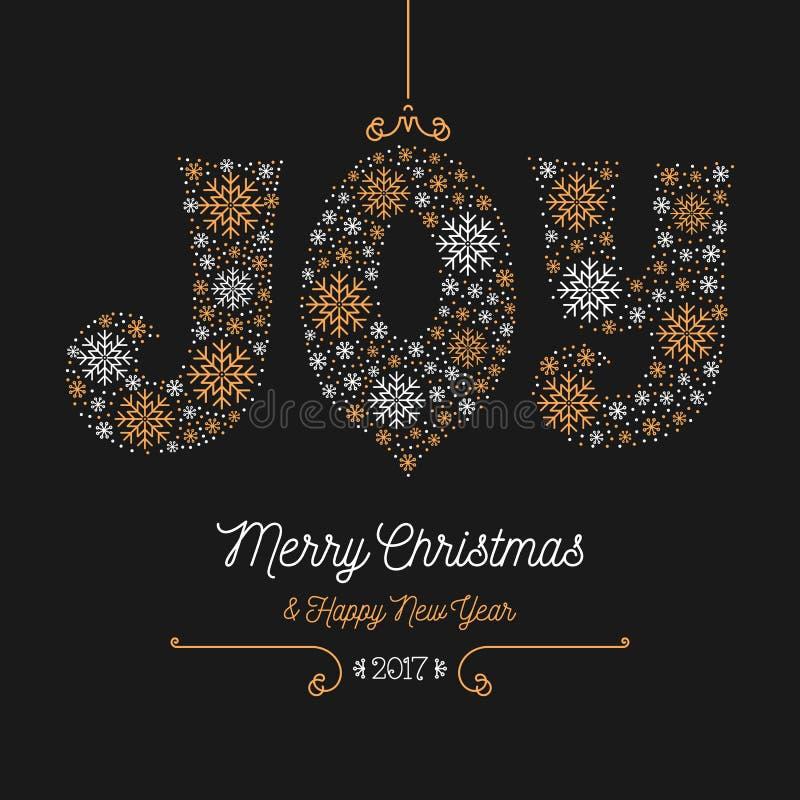 雪花喜悦字法,圣诞快乐新年快乐2017年 向量例证