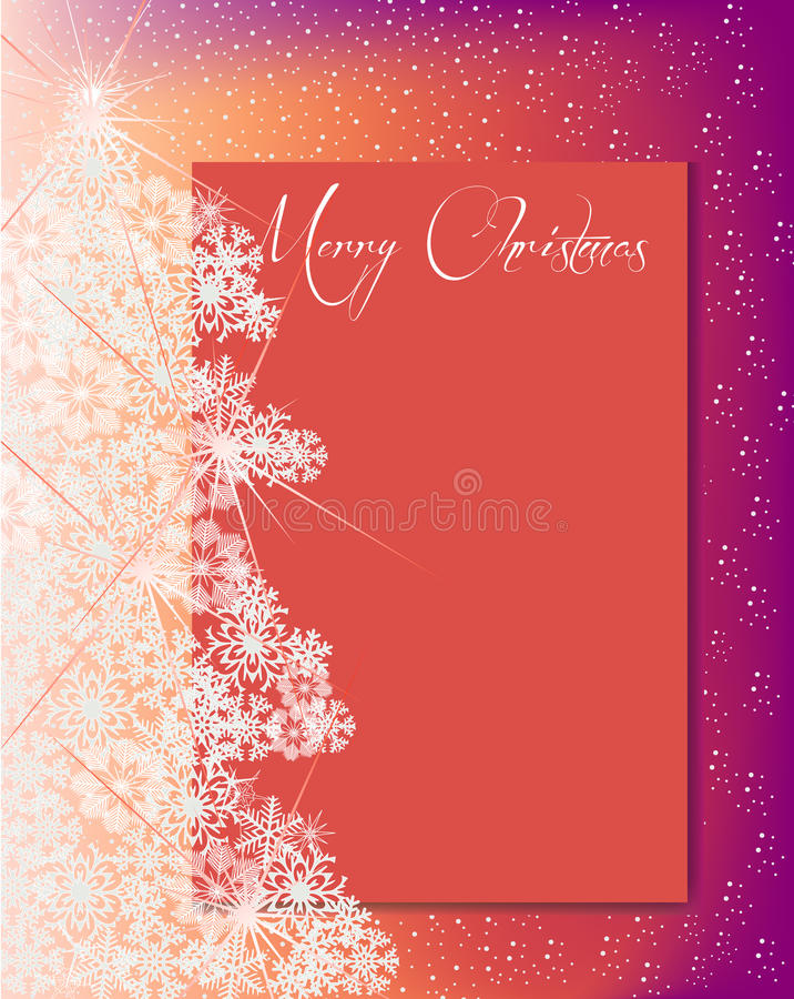 雪花圣诞树和卡片文本橙色桃红色的 库存照片