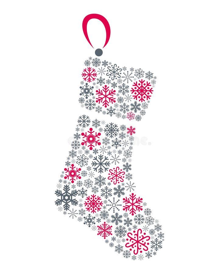 雪花圣诞节袜子 向量例证