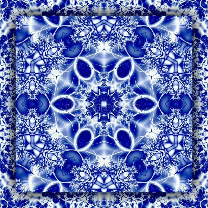 雪花坛场在蓝色颜色的冬天太阳方形的地毯  皇族释放例证