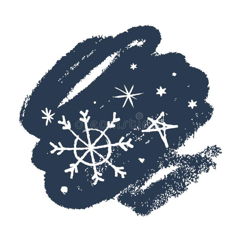 雪花手拉的传染媒介象集合,刷子污迹 背景能例证主题使用的冬天 向量例证