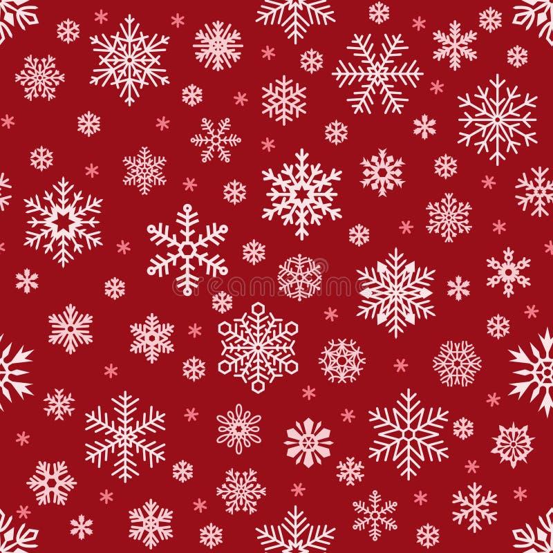 雪花样式 在红色背景的圣诞节落的雪花 寒假雪无缝的传染媒介背景 向量例证
