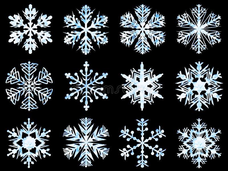 雪花汇集,冰纹理,黑背景 皇族释放例证