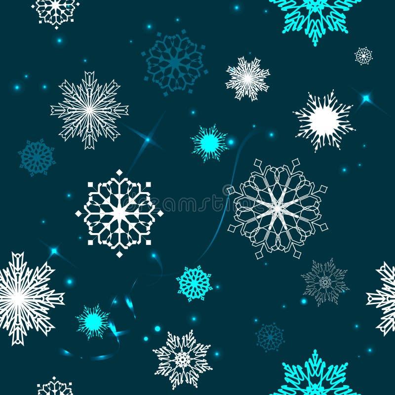 雪花的无缝的样式在蓝色背景的 库存图片