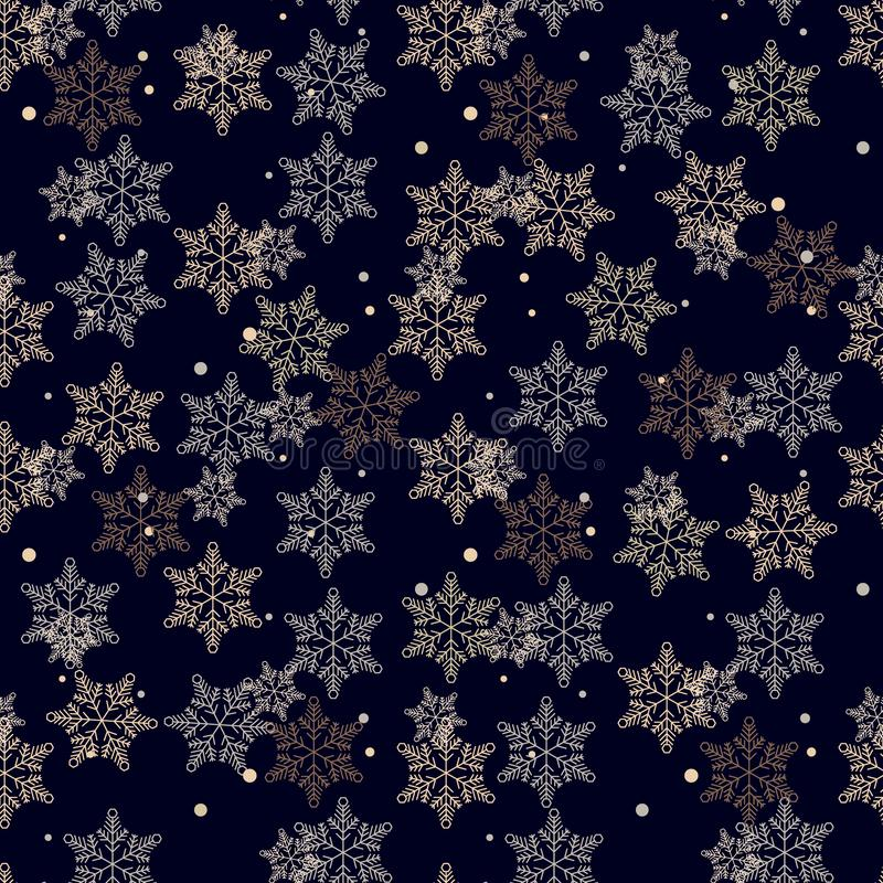 雪花的无缝的样式在黑暗的深蓝背景eps10的 库存照片