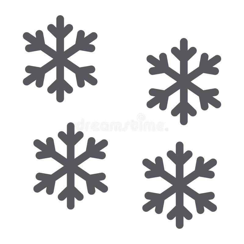 雪花纵的沟纹象、冬天和展望,雪标志,向量图形,在白色背景的一个坚实样式 皇族释放例证