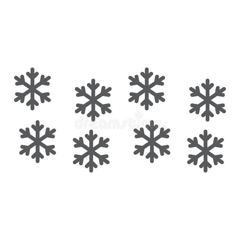 雪花线和纵的沟纹象、冬天和展望,雪标志,向量图形,在白色背景的一个线性样式 皇族释放例证