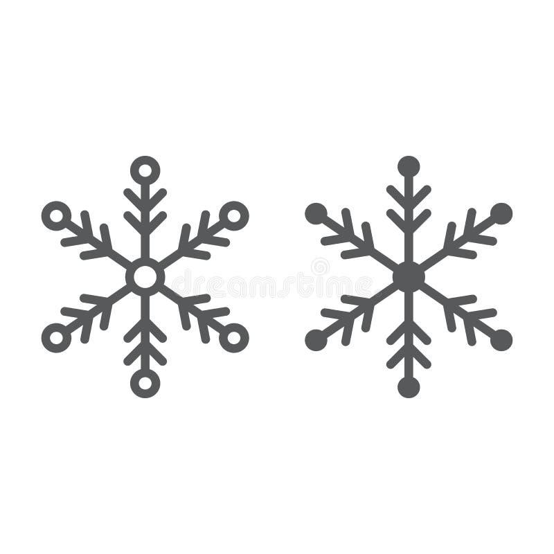 雪花线和纵的沟纹象、天气和气候,雪标志,向量图形,在白色背景的一个线性样式 皇族释放例证