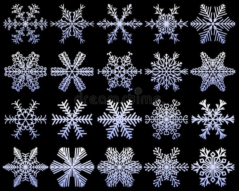 雪花被设置异常的象 白色雪在深蓝冷淡的背景剥落 冻结的冰晶收藏 传染媒介illustr 库存例证