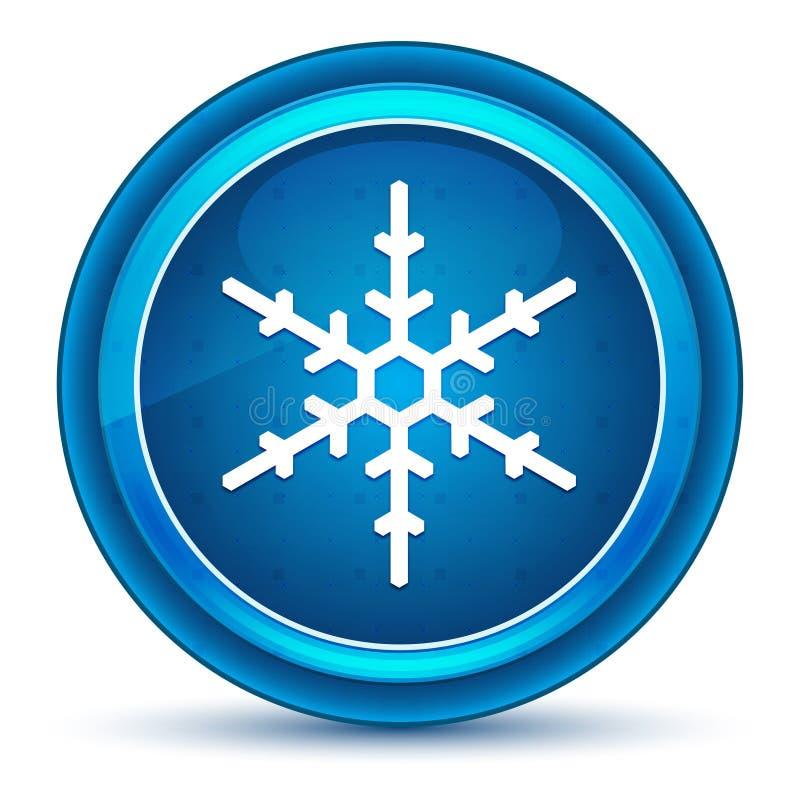 雪花象眼珠蓝色圆的按钮 皇族释放例证