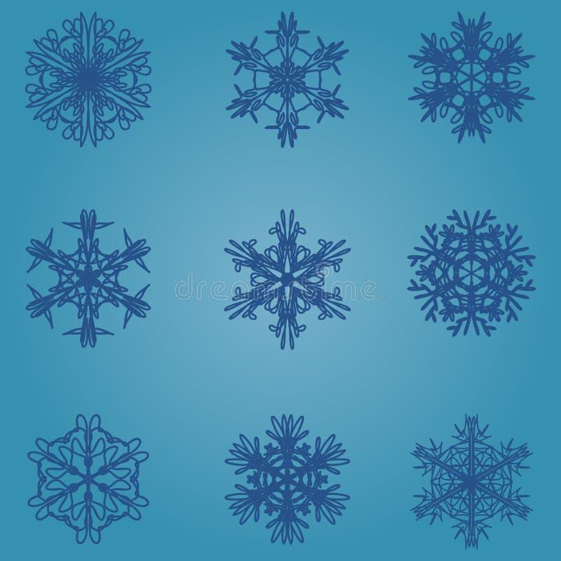 雪花象 背景能例证主题使用的冬天 不同的形状冬天雪花  库存例证