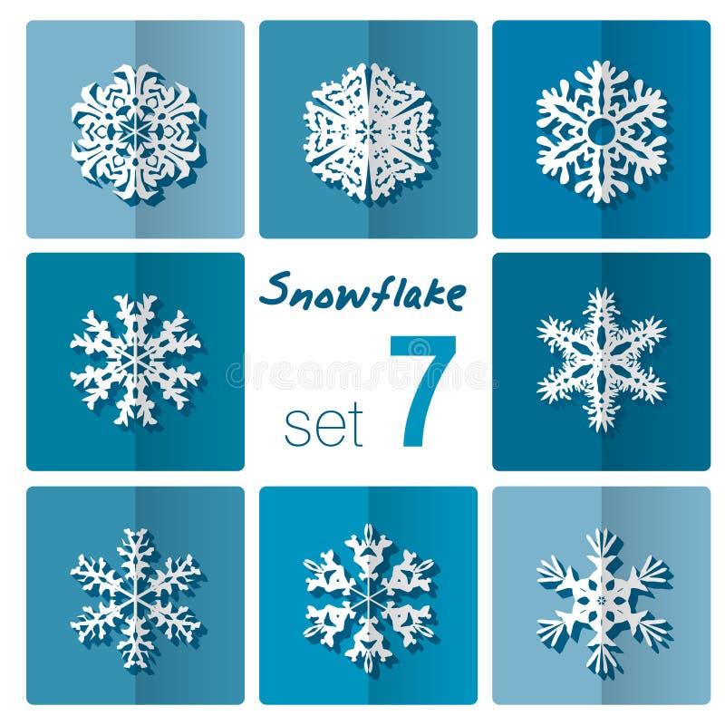 雪花象 背景能例证主题使用的冬天 不同的形状冬天雪花  皇族释放例证