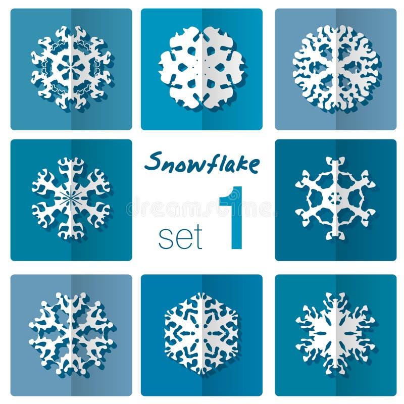 雪花象 背景能例证主题使用的冬天 不同的形状冬天雪花  向量例证