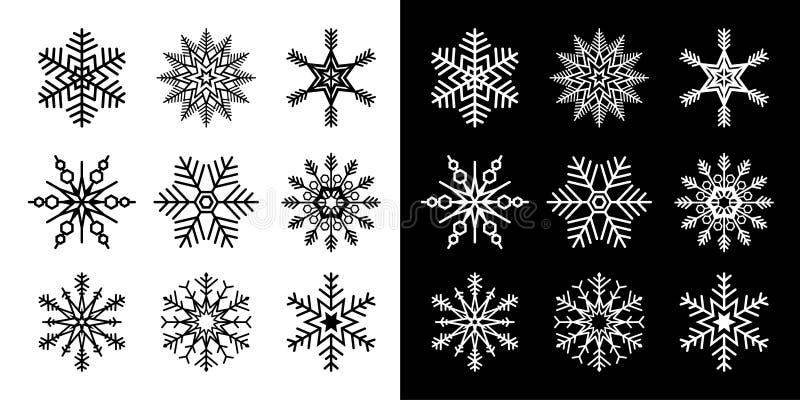 雪花集黑白版的孤立矢量图 库存照片