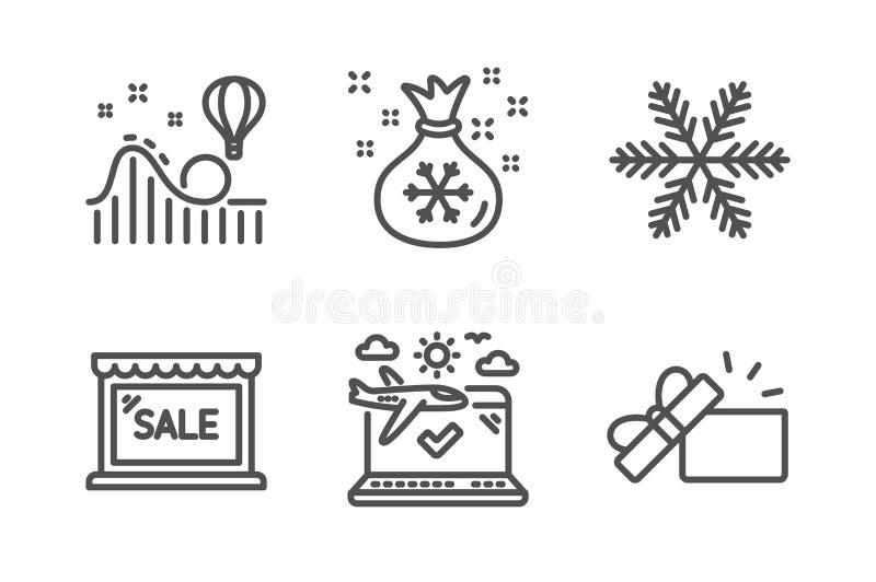 雪花,圣诞老人大袋和销售象集合 过山车好久,飞机旅行和被打开的礼物标志 ?? 皇族释放例证