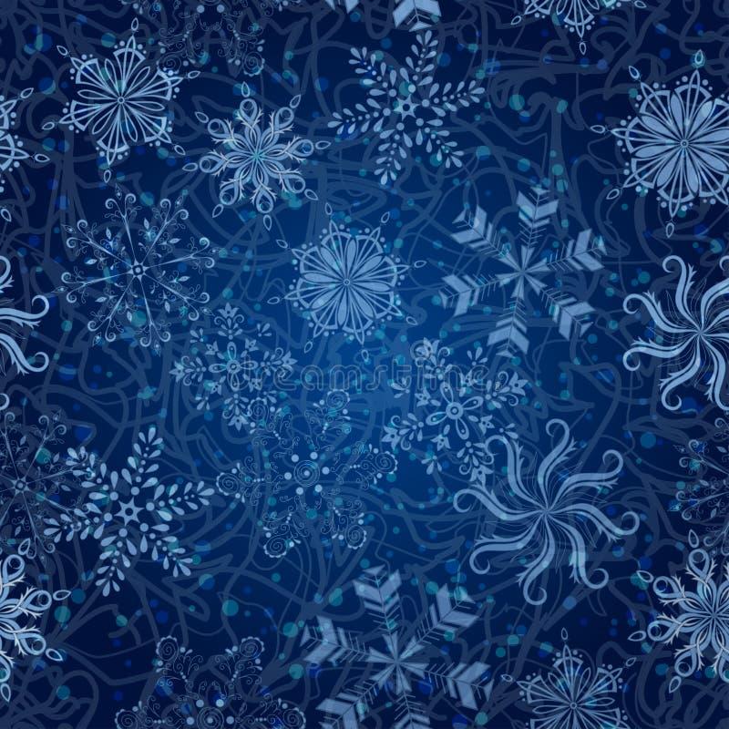 雪花,无缝的圣诞节背景 皇族释放例证