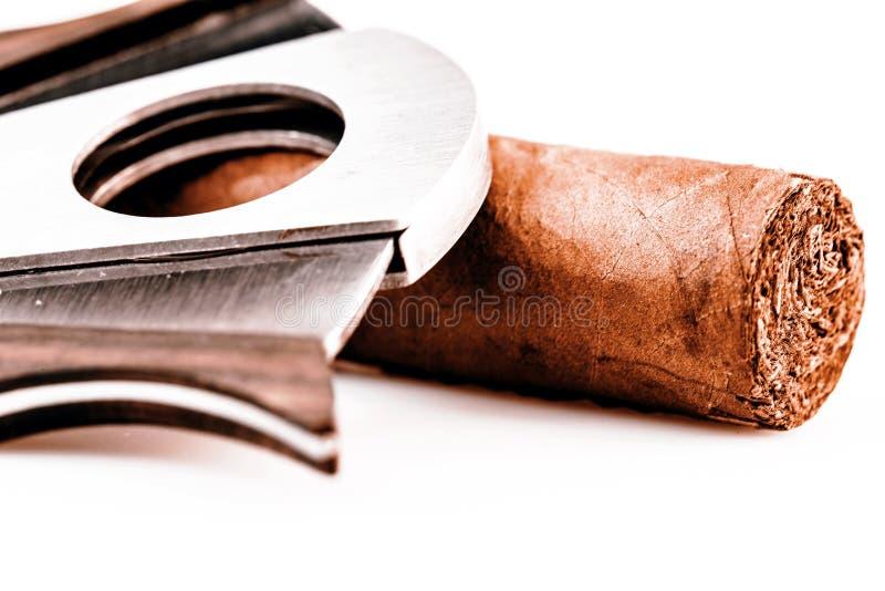 雪茄和切削刀在白色背景 免版税库存照片
