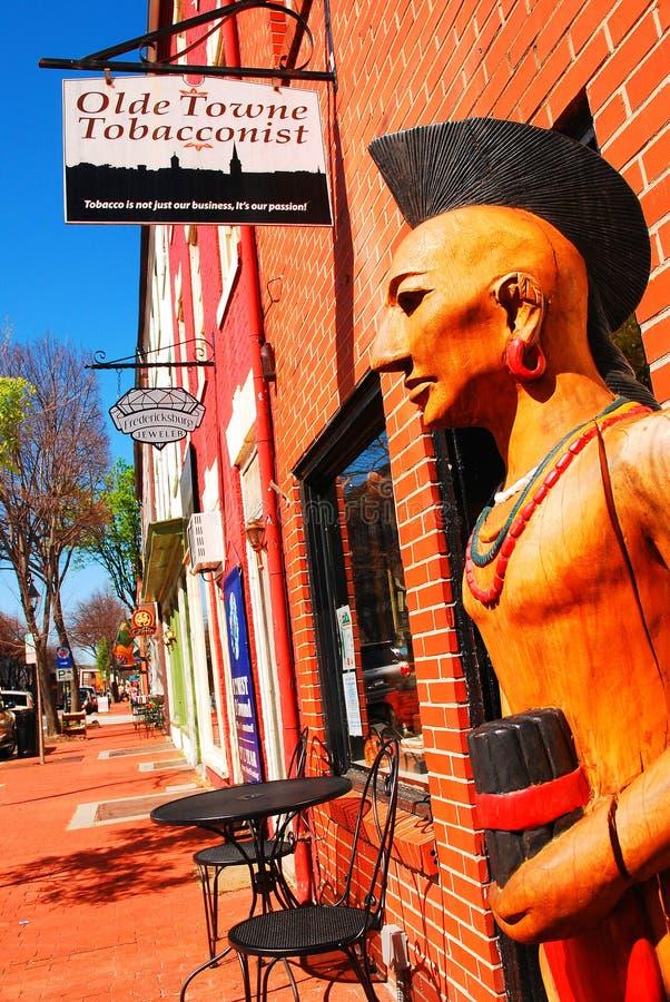 雪茄商店印地安人在弗吉尼亚烟商店 库存照片