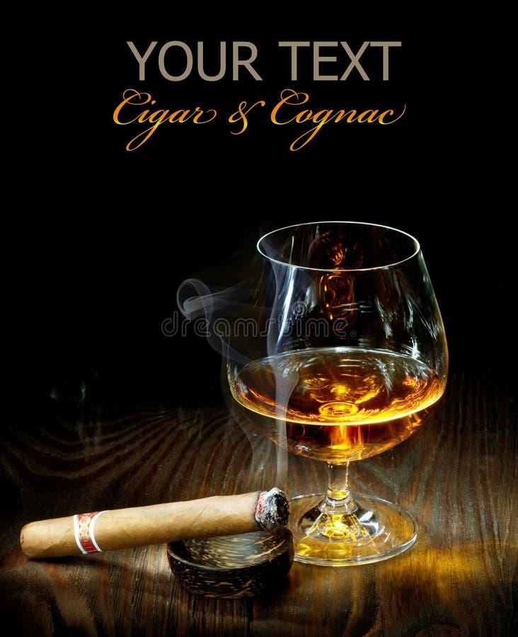 雪茄科涅克白兰地 免版税库存照片