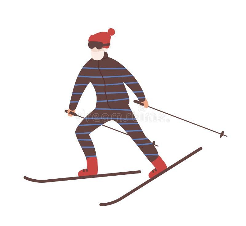 雪衣服滑雪的年轻人 滑雪的人或讨便宜者 冬季体育和消遣活动 逗人喜爱的男性动画片 向量例证